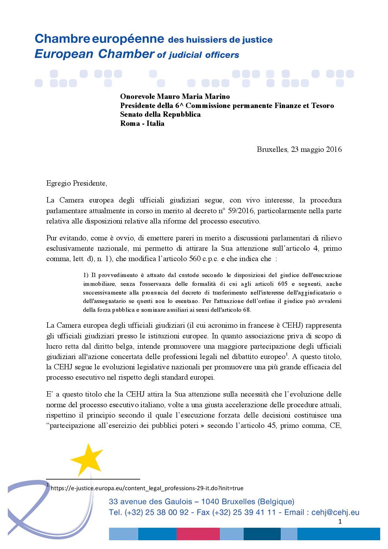 Lettera camera europea degli ufficiali giudiziari alla com for Design della camera degli ospiti