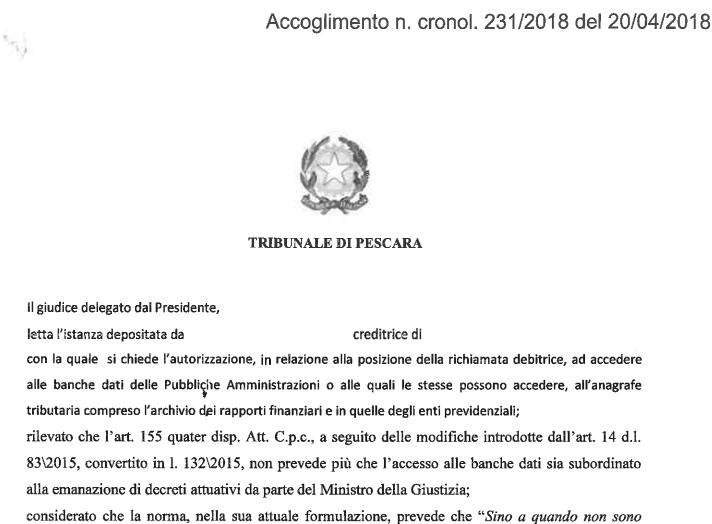Inadempienza del Ministero della Giustizia sull'applicazione dell'art. 492-bis sulle indagini patrimoniali