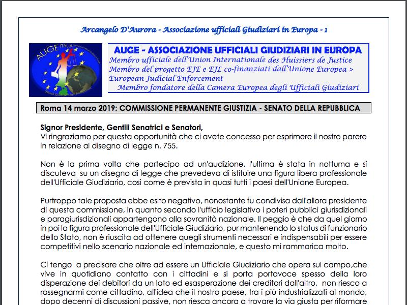 Audizione AUGE in Commissione Giustizia sul ddl 775