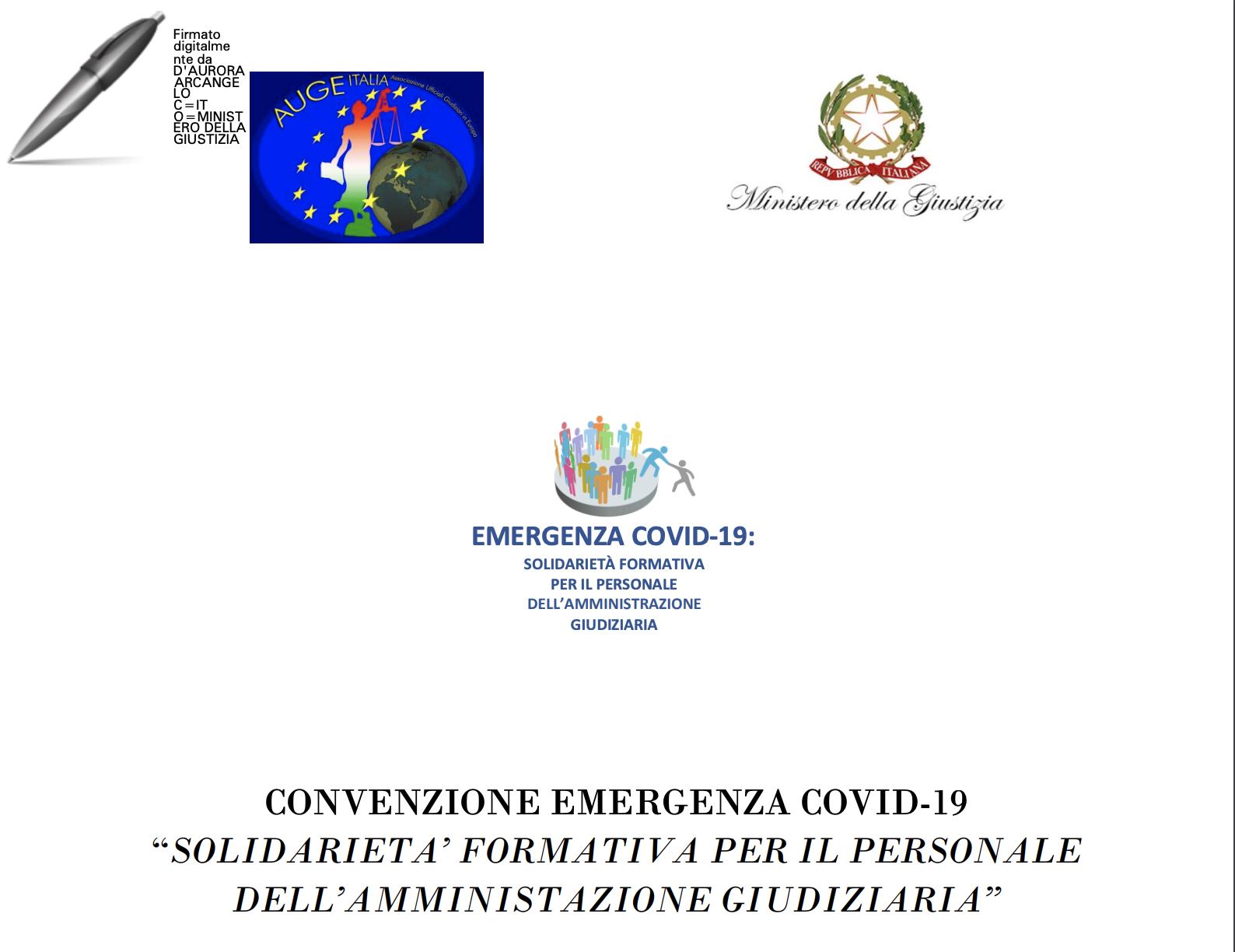Convenzione Emergenza Covid-19 solidarietà formativa tra AUGE e il Ministero della Giustizia