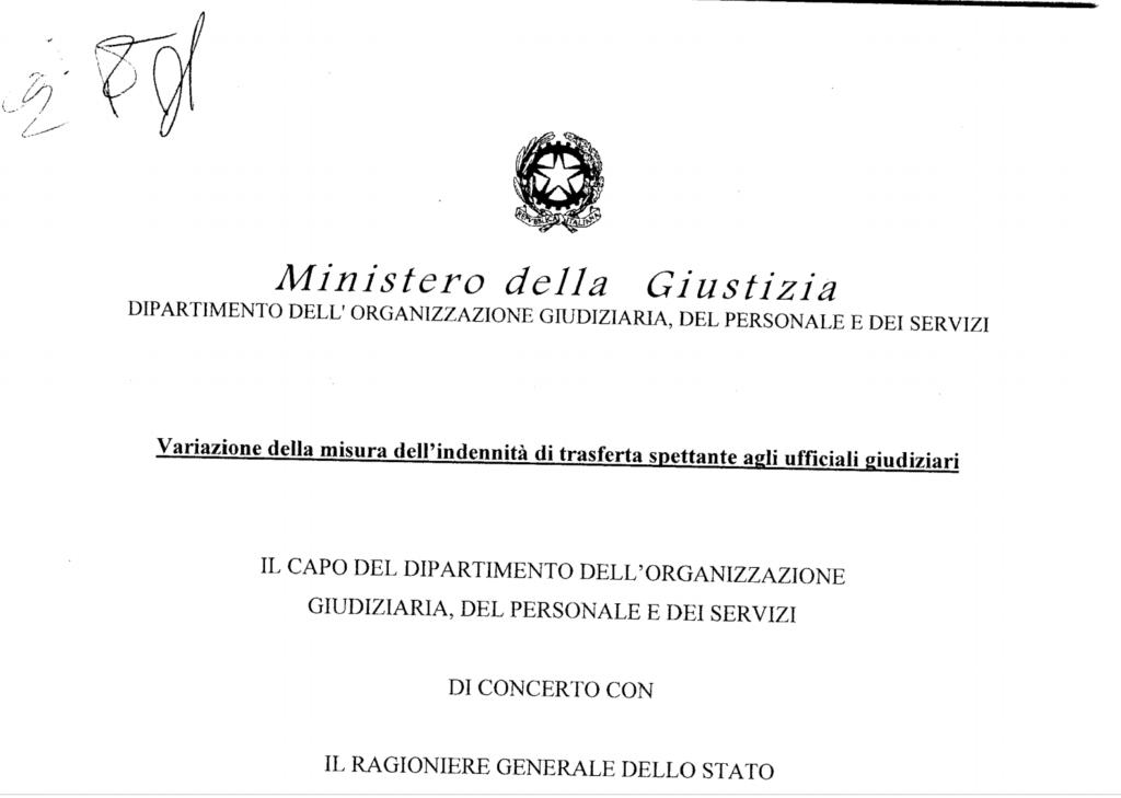 Adeguamento indennità di trasferta spettante agli Ufficiali Giudiziari dal 1° febbraio 2021